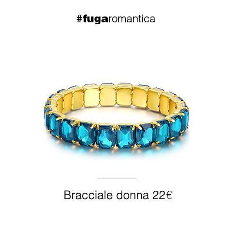 Bracciale in metallo elastico con cristalli verde acqua Luca Barra Gioielli. #bracciale #elastico #donna #lucabarra #newcollection