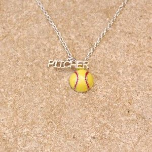 Gimmedat Softball Pitcher Enamel Necklace from Aries Apparel - $12