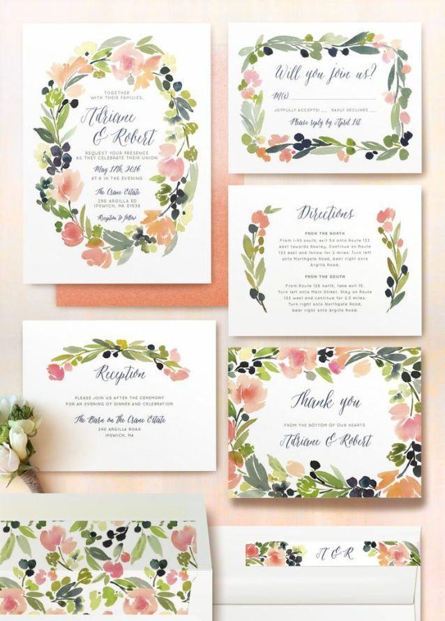 Papeterie-Trend: Wasserfarben | #Hochzeitseinladungen #Papeterie #Hochzeitskartenset #Einladungskarten