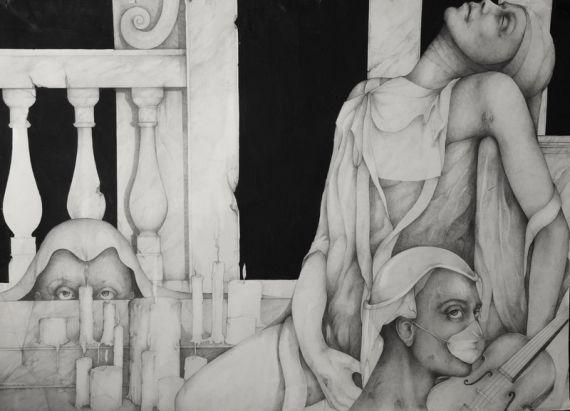 Sleep rhetoric, 1990 Pencil and oil on paper, 100 X 70 cm