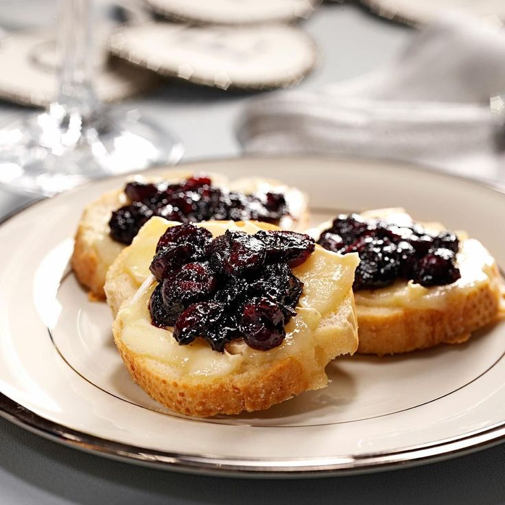 Brie Toasts with Cranberry Compote Recipe -Just six ingredients are all I need to create an elegant appetizer perfect for entertaining. The tart cranberry compote pairs well with creamy Brie cheese. —Katherine Watson, Omaha, Nebraska