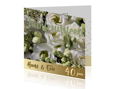 Uitnodiging 40 jubileumfeest met prachtige bloemen groen en goud