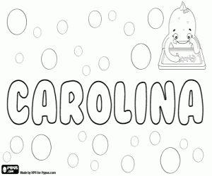 Colorear Carolina, una forma femenina del nombre germánico Karl