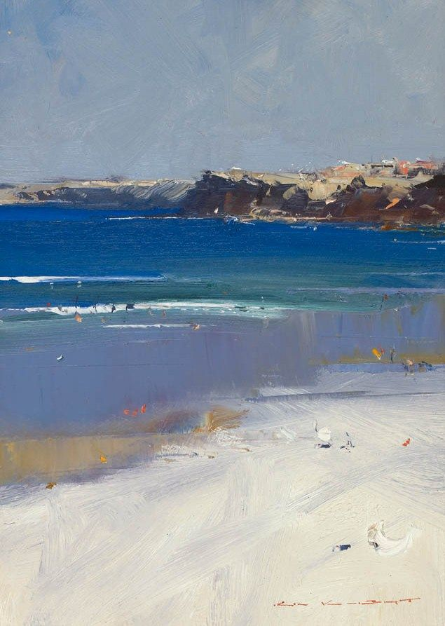 """Bondi Beach"", oil on canvas, 20cm x 27cm, Ken Knight - Tryon Gallery"