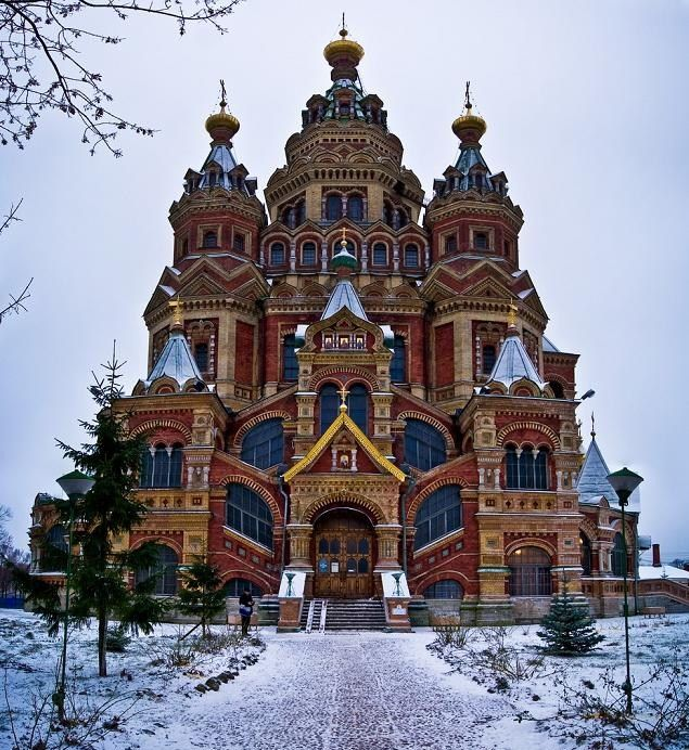 Saints Peter and Paul Cathedral at Peterhof, Russia #placesofworshipserendipity
