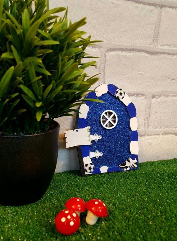 Football Fairy Door  Wooden Blue Football Glitter Fairy
