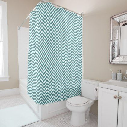 Zigzag Pattern Chevron Pattern - White Blue Shower Curtain - white gifts elegant diy gift ideas