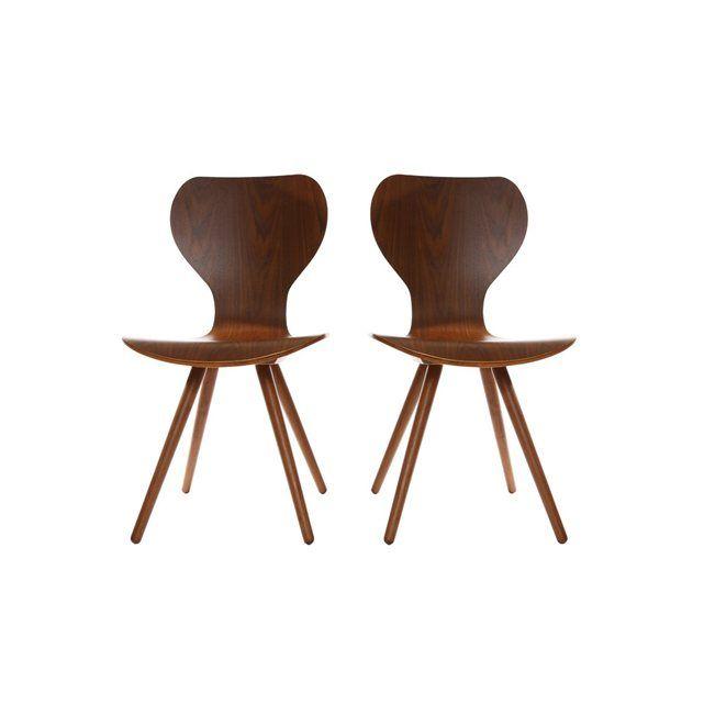 Lot de deux chaises style scandinave en noyer naturel NORDECO MILIBOO : prix, avis & notation, livraison. Chaise design : revêtements en noyer naturel et piétements originaux, Dimensions totales : L40.5xP40.5xH85.5 cm. vendu par lot de deux.