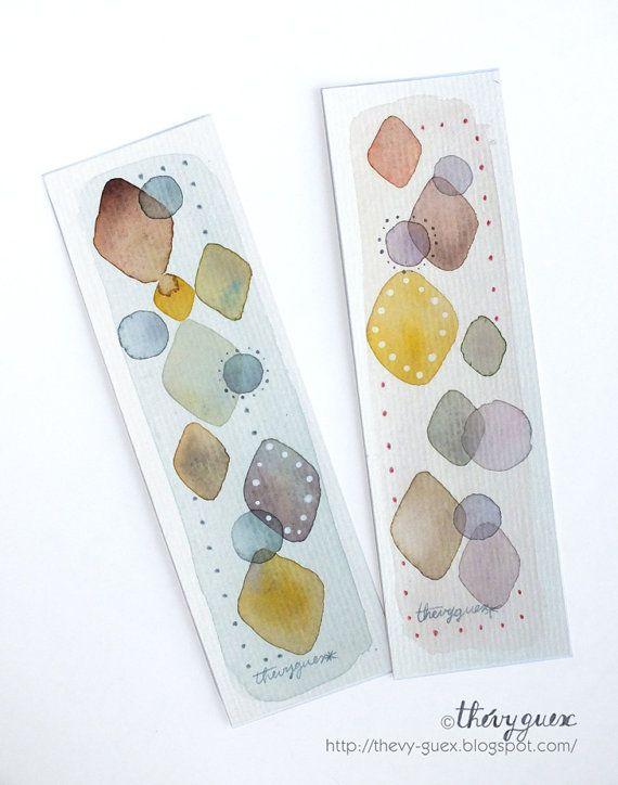 Illustrated Geometric Abstract Rhombus Diamond Shape Dot Original Watercolor Painting Bookmarks - Set of 2 Handpainted Bookmarks
