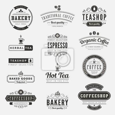 Fotobehang Coffee Retro Vintage Labels Logo design typography