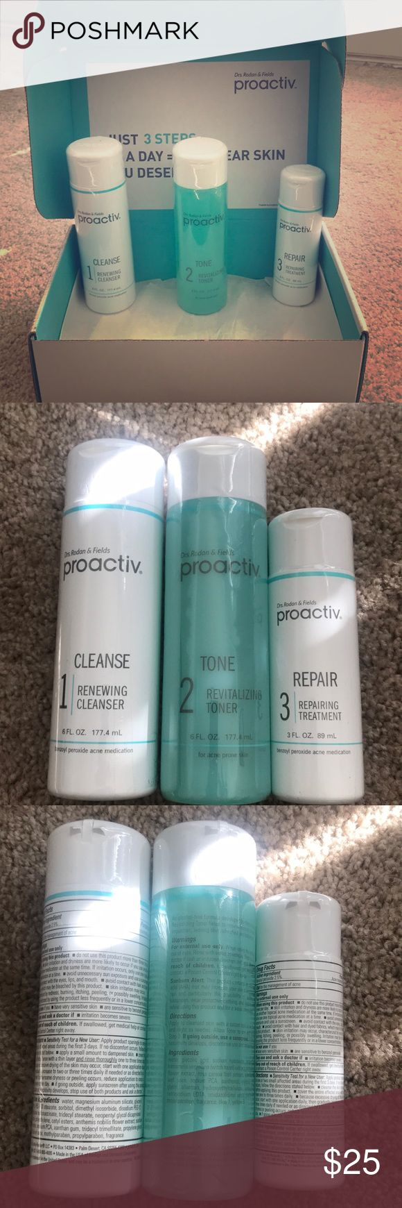 Proactive kit Acne-fighting system to help maintain clearer, more radiant skin! Never used! Have a total of 3 sets! Will sell set individually! Proactiv Makeup