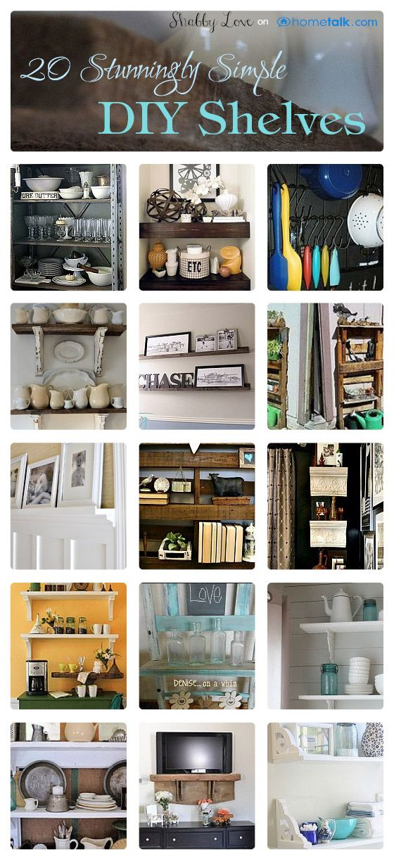 20 Stunningly Simple {DIY} Shelves | curated by 'Vintage Mellie' blog! Start your 90 day challenge at http://patriciaeberhard68.sbc90daychallenge.com/?SOURCE=PIN Join my Facebook group at https://www.facebook.com/groups/EatingHealthyandLivingwithPatricia/
