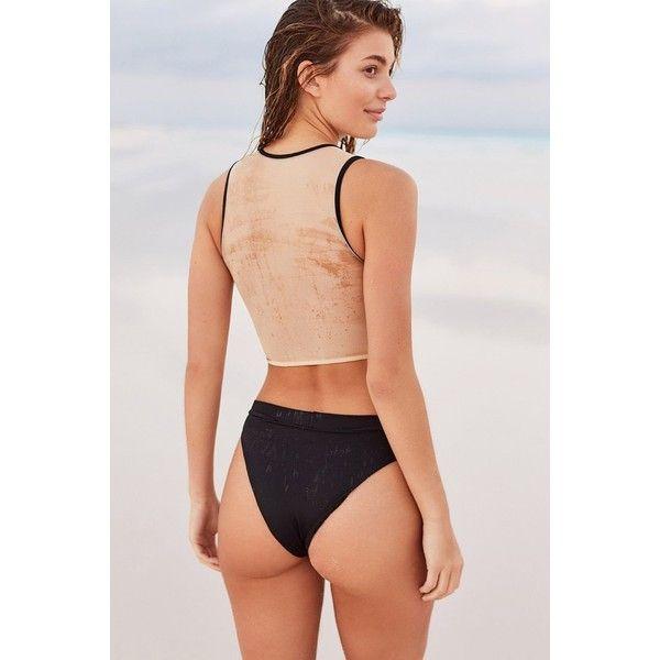 MANDALYNN Kate High-Waisted Bikini Bottom ($70) ❤ liked on Polyvore featuring swimwear, bikinis, bikini bottoms, high rise bikini, high waisted two piece, retro bikini, retro high waisted bikini and bikini bottom swimwear