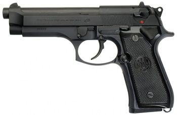 Beretta 92FS (9mm)  Shot at Midwest Guns 4/21/2012  This was the first semi-auto I ever liked. One-handed worked best. :)