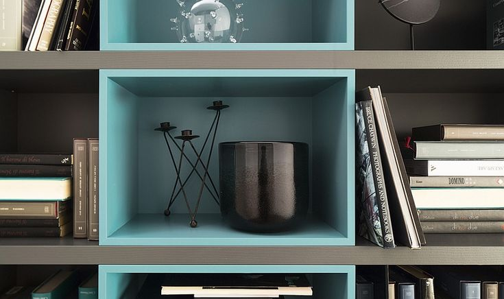 Gorgeous wall unit shelves in turquoise and black with a lacquered finish