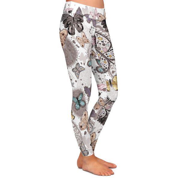 Casual City Chic Leggings | Julie Ansbro - Butterflies Pastel White