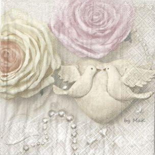 One Day servítky, svadba, svadobné, holúbky, srdce, ruže, vintage