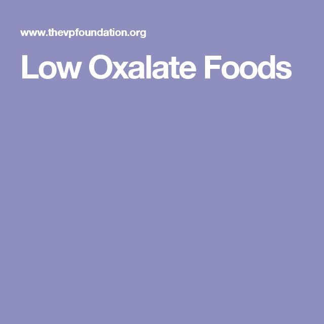 Low Oxalate Foods