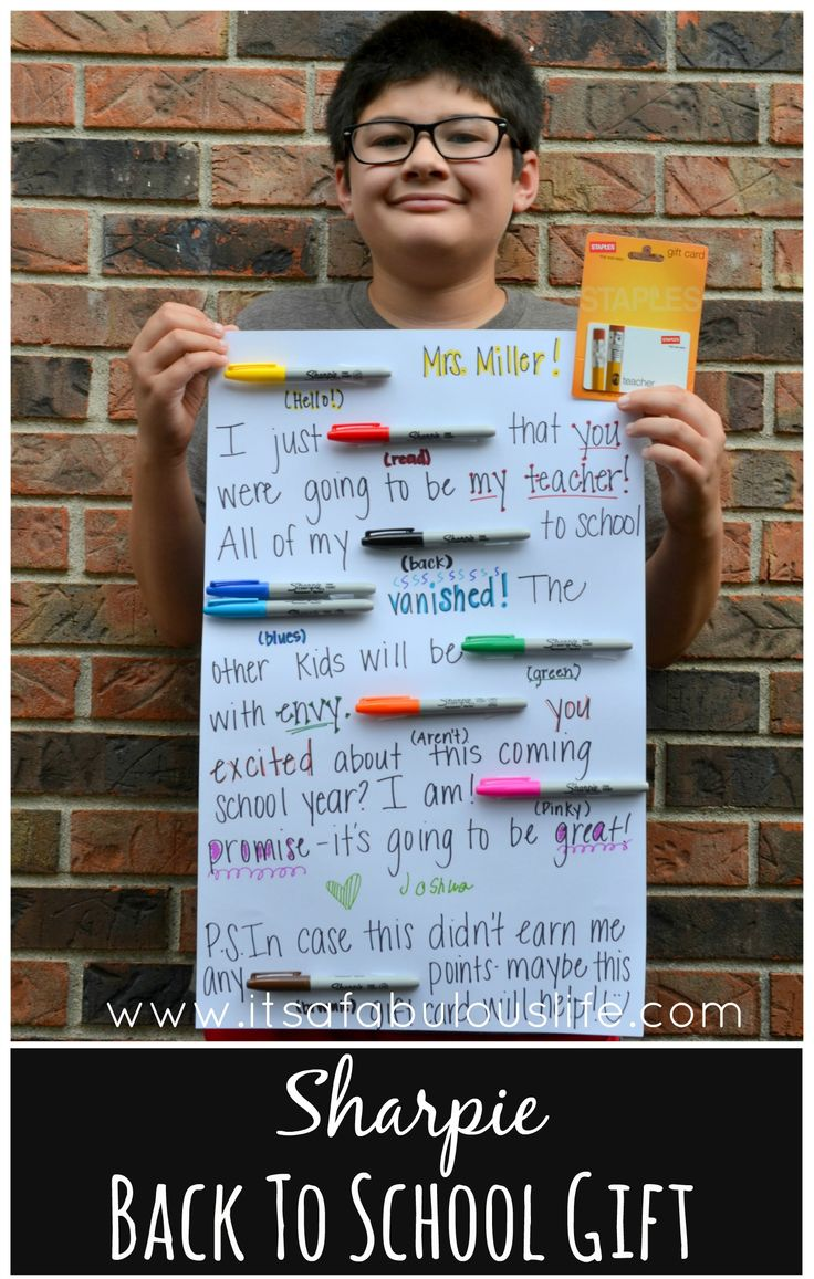 Sharpie Back To School Gift Teacher Gift.  I think this would be easy to turn into a Christmas gift too!