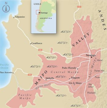 Maipo Valley map, Chile.