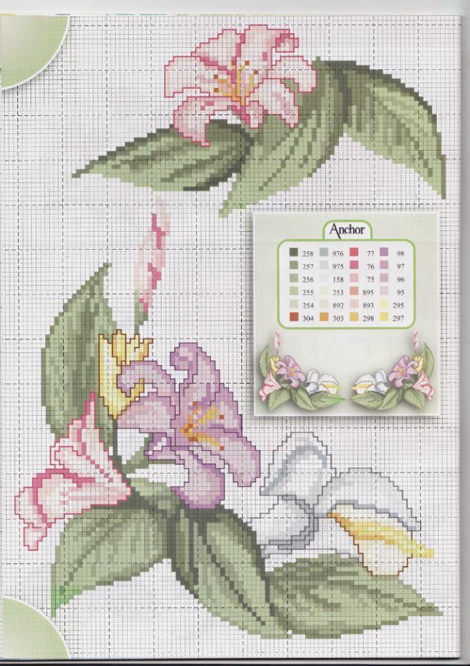 Fiori rosa viola e calla bianca angolo tovaglia punto for Schemi bordure uncinetto per lenzuola