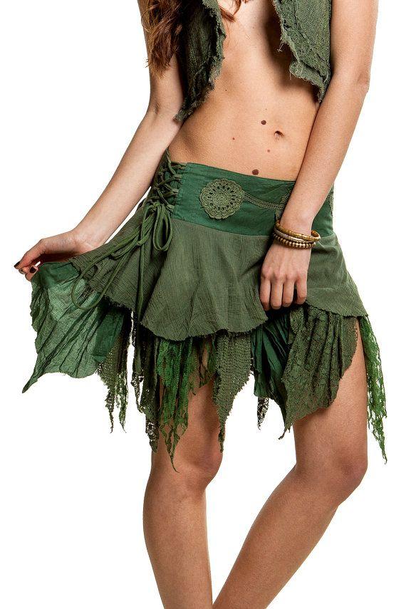 WOODLAND ELF jupe, jupe de psy trance, boho jupe festival, psy trance pixie loques fée minijupe, tribal jupe, jupe pixie, vêtements de pixie