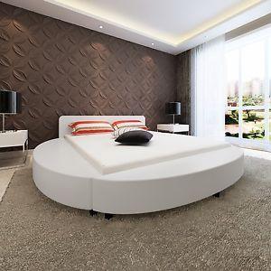Struttura letto in pelle ecologica matrimoniale moderno 180 cm contorno Bianco