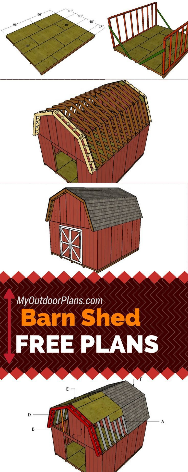 Free Barn Shed Plans - Learn how to build a 14x16 gambrel shed with my free instructions and step by step diagrams! http://myoutdoorplans.com #diy #shed