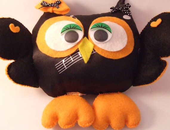 READY TO SHIP Handmade Felt Owl Stuffed Owl Room by PlushiesTemple