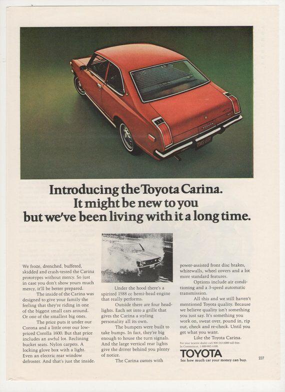 1974 Toyota Carina Advertisement Red 70s Economy Car Dealership Garage Shop Man Cave Wall Art Decor