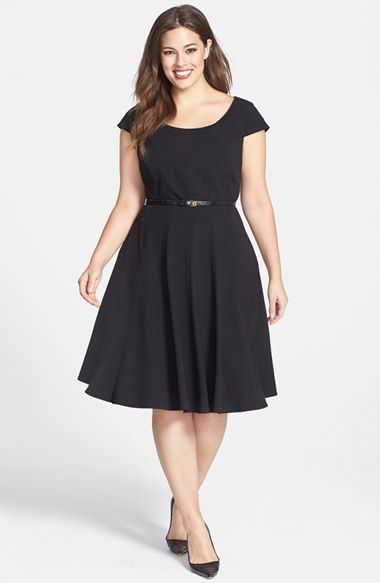 Calvin Klein Cap Sleeve Fit & Flare Dress (Plus Size) available at #Nordstrom