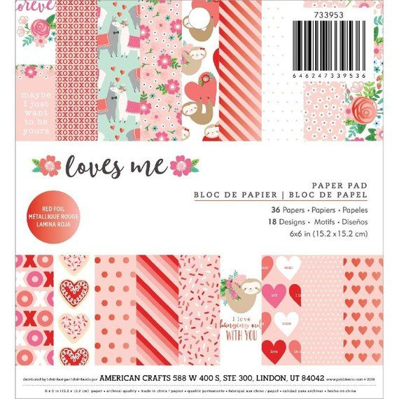 Pebbles Loves Me Collection Valentines 6 Paper Pad Foil