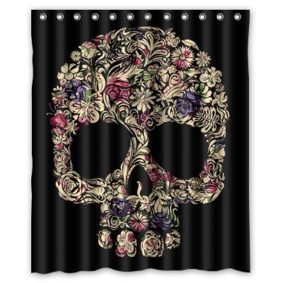 "Special Designed Sugar Skull Shower Curtains 60"" X 72"" Home Decor Bath Curtain Background Perfect as Christmas gift-02"