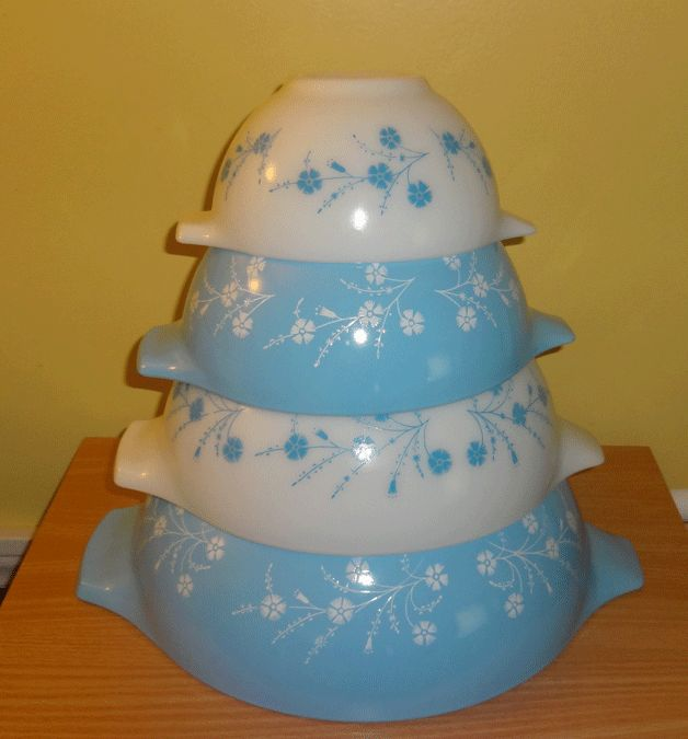 Rare Vintage Pyrex Blue Dianthus Complete Cinderella Set | eBay ($2,500! Um,  pass. )