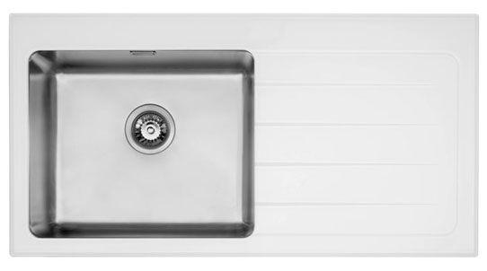 Bluci KubeVetro 1.0 Bowl White Glass Kitchen Sink