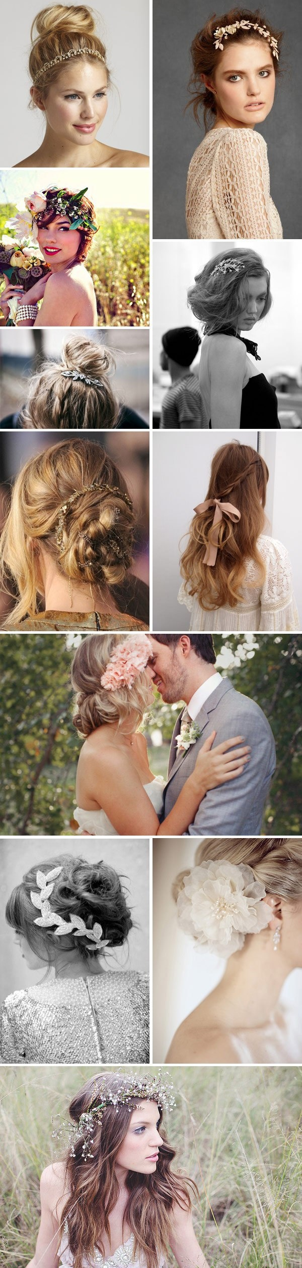 multiple hairstyle bride