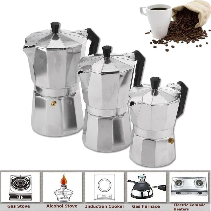 Stovetop Coffee Maker Comes In 3 Sizes, 150ml, 300ml and 450ml. Ideal for Home and Outdoor Use. Made of Aluminum. Stylish in Looks. #Stovetop #Coffee #Espresso #Maker