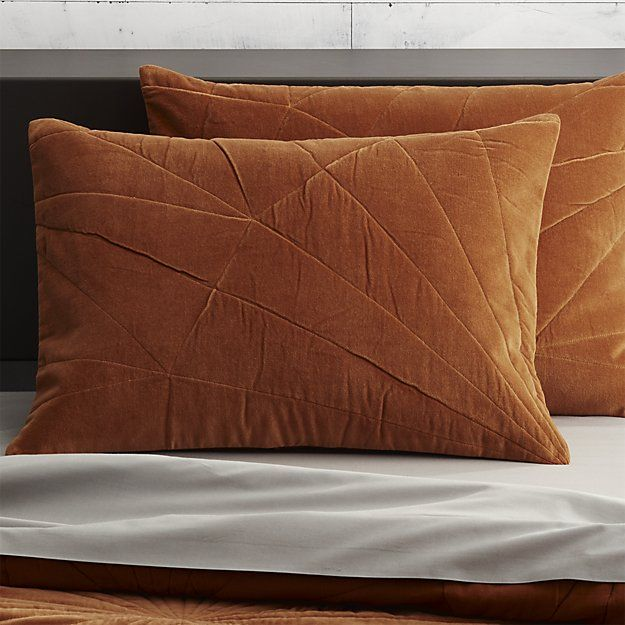 set of 2 vail amber velvet standard shams