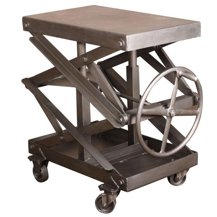 Original, Vintage Industrial, Adjustable Scissor Lift Table