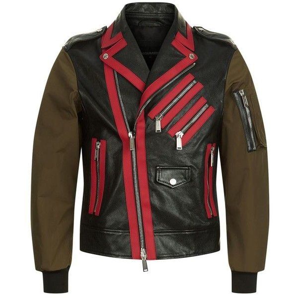 DSquared2 Contrast Sleeve Leather Jacket ($2,110) ❤ liked on Polyvore featuring men's fashion, men's clothing, men's outerwear, men's jackets, mens red jacket, mens red leather jacket, mens leather jackets, mens leather sleeve jacket and mens short sleeve jacket