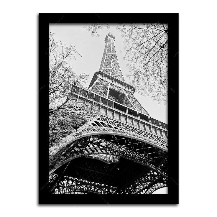 Pôster com Moldura Preta Torre Eiffel, Paris Médio - 42x30 cm | Carro de Mola - Decorar faz bem.
