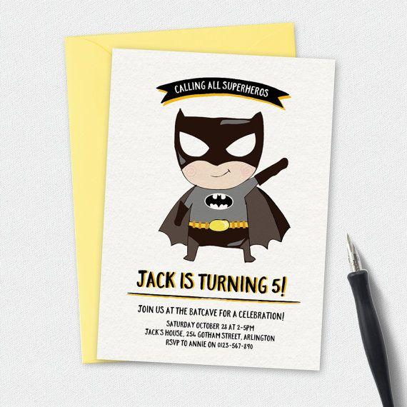A cute Batman Birthday Invitation, Batman invitation, kids invitation, Custom invitation, party invitation, ideal for second third fourth or fifth