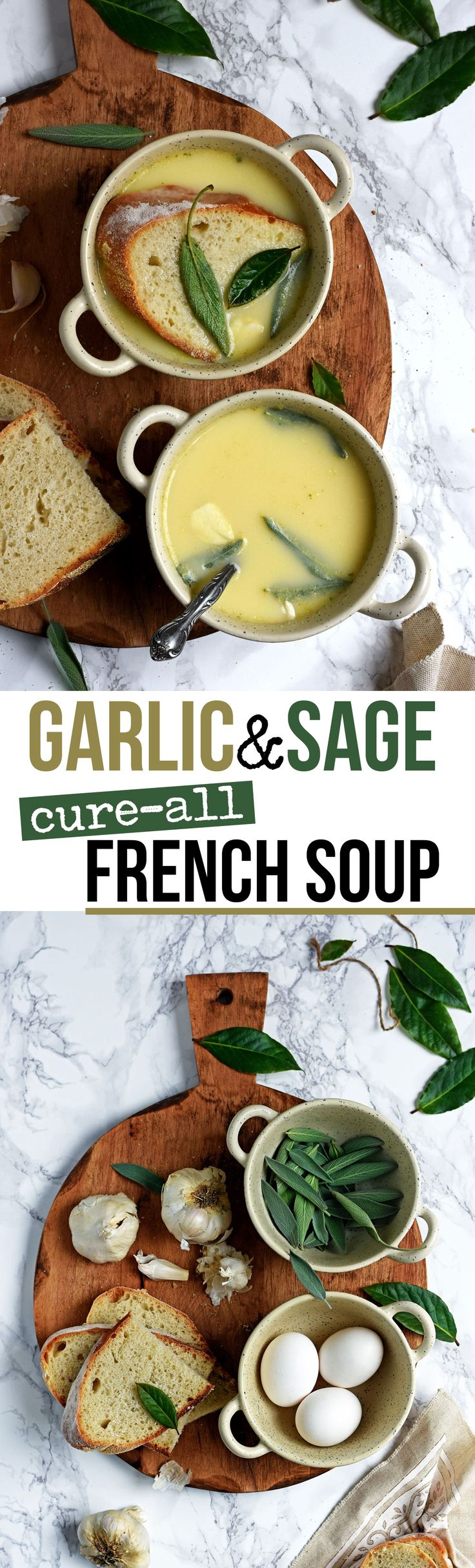 This delicate Garlic & Sage soup is widely consumed in the South of France to ward off winter ills, or as a detox soup after days of feasting (and a good cure for hangovers too!).
