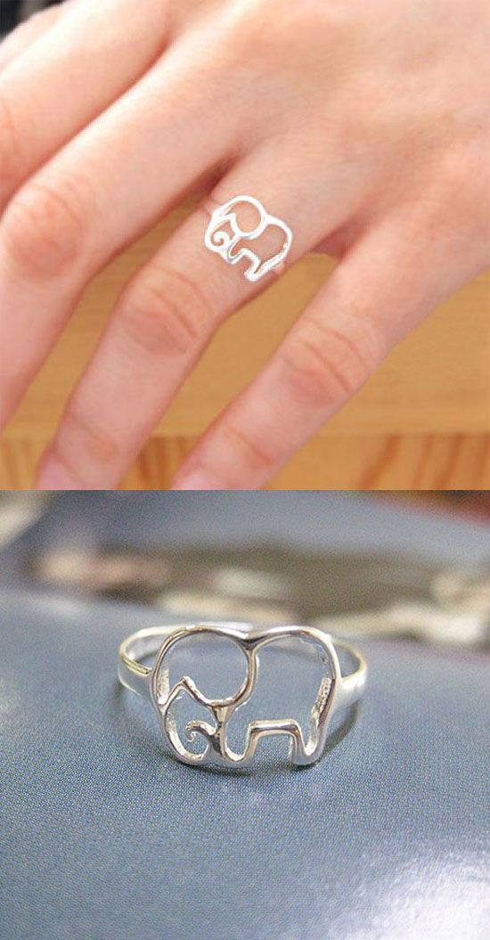 Lovely Simple Hollow Elephant Silver Ring for big sale ! #ring #sale #elephant #silver #cute #lovely