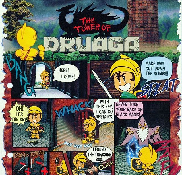 WEBSTA @favoritevideogamessince71 Tower of Druaga (1984 Arcade By Namco). The Tower of Druagais amaze-basedaction role-playingarcade gamereleased by Namco in 1984.It is the first game in theBabylonian Castle Sagaseries, inspired by Sumerian and Babylonian mythology, including theEpic of GilgameshandTower of Babel.