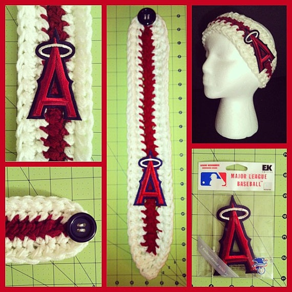 Crochet ANAHEIM ANGELS red and ivory headwrap by MiProcesoCreativo, $16.00