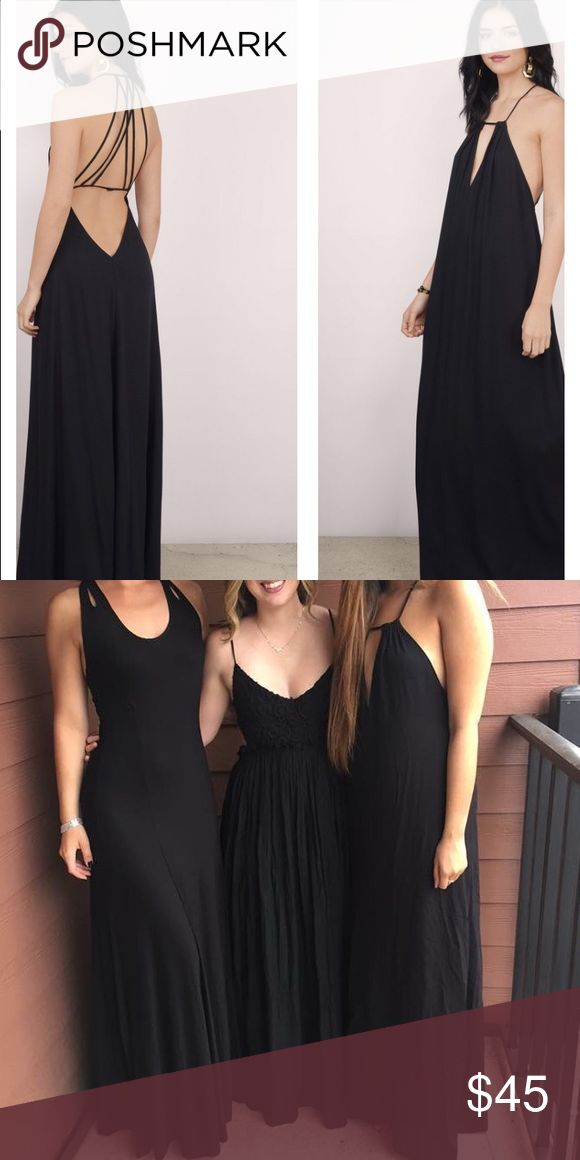 Black Formal Maxi Dress Black maxi dress, open back and keyhole in the front. New with tags, just worn for the picture. Very loose fitting size M, good for a tall size 4 or a size 6-10. I'm 5'5 and was able to wear this with 3 inch heels and the dress covered them. (Pictured to the far right) Tobi Dresses Maxi