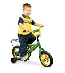 """John Deere 12"""" Boys Bike by John Deere. $99.99. John Deere 12"""" Boys BikeUnit features heavy-duty steel frame, carry rack and adjustable training wheels. Age grade 3+ yrs.Ships alone. Please allow more time for this item."""