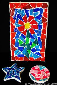 """- a mosaic tile craft - my K kids may be able to do a modified version of this craft - draw a flower shape with stem and leaves, mark the border - use tiles to fill in the general areas drawn - set for a day or so and then use grout material to fill it in - finish with a coating like """"Fiinal Coat"""" ....."""