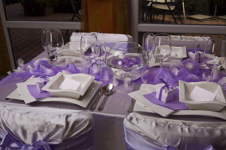výzdoba stolu na svatbu fialová - Hledat Googlem